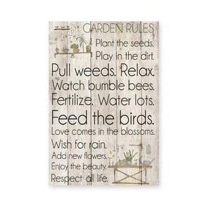 Drevená ceduľa Garden Rules