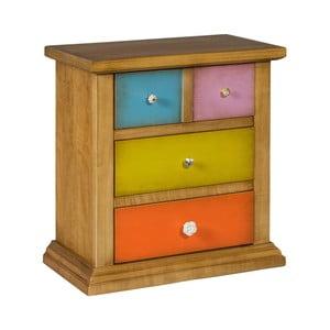 Hnedá komoda s farebnými zásuvkami Evergreen Houso Specific