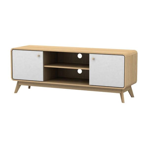 Bielo-hnedý drevený TV stolík Støraa Cleo