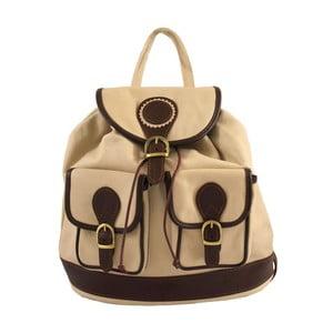 Béžový kožený batoh Chicca Borse Becky