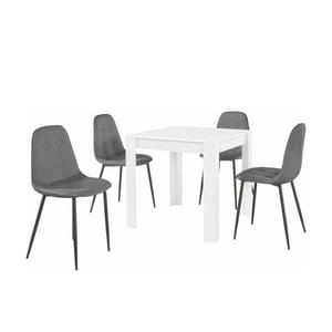 Set bieleho jedálenského stola a 4 sivých jedálenských stoličiek Støraa Lori Lamar Duro