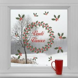 Elektrostatické vianočné  samolepky Veniec a veselé Vianoce