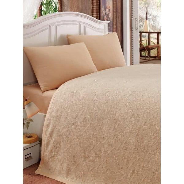 Sada prikrývky cez posteľ, plachty a 2 obliečok Nostaji Beige, 200x235 cm
