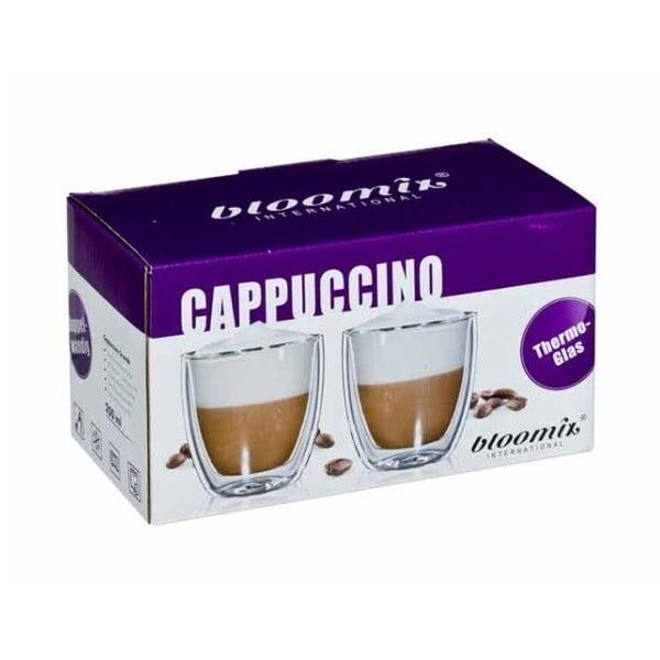 Sada 2 sklenených hrnčekov na cappuccino bloomix