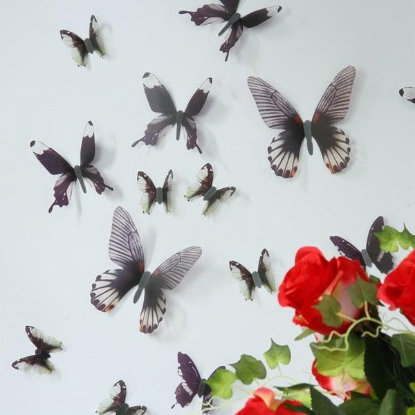 Trojrozmerné samolepky motýlikov, farba čierna