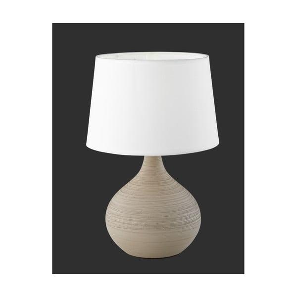 Bielo-hnedá stolová z keramiky a tkaniny Trio Martin, výška 29 cm