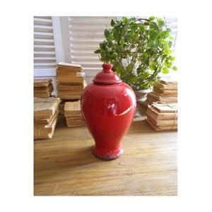 Červená keramická nádoba s vrchnákom Orchidea Milano, 30 cm