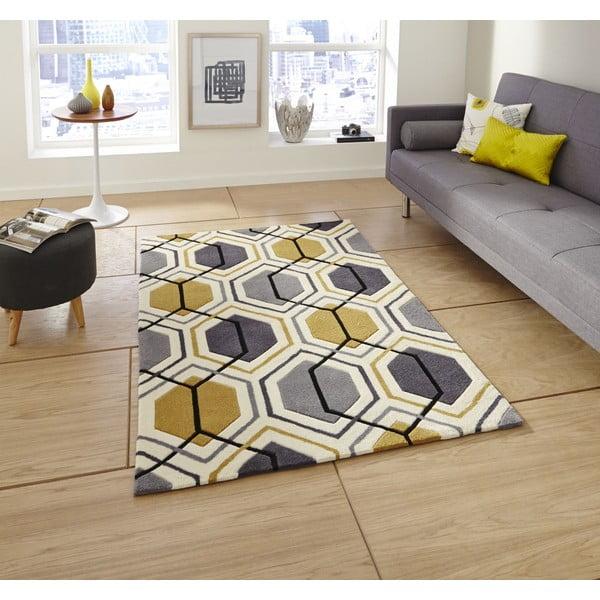 Koberec Flat 90x150 cm, sivožltý
