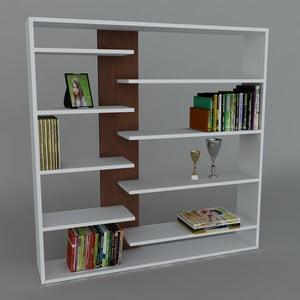 Knižnica Handy Book White/Wenge, 22x125x126 cm
