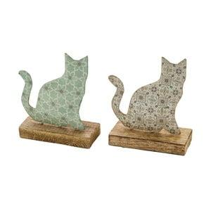 Sada 2 drevených dekorácií z posmaltovaného kovu na drevenom podstavci s motívom mačičky Ego Dekor, 15×18,5 cm