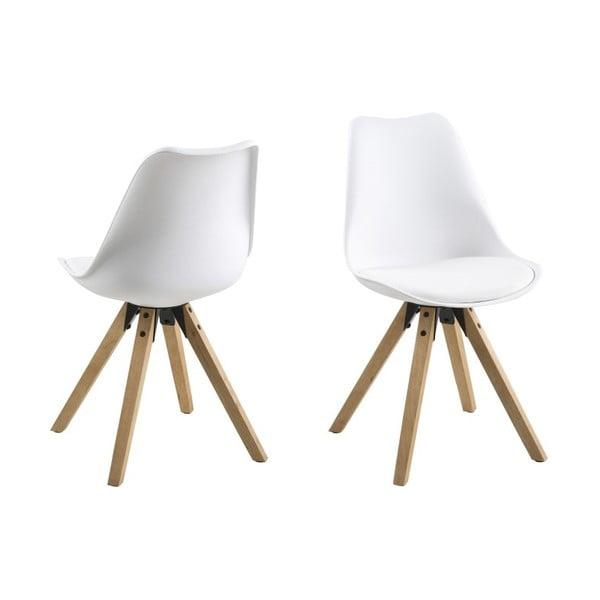 Jedálenská stolička Dima, biela a drevené nohy
