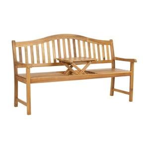 Hnedá záhradná lavica z akáciového dreva s výklopným stolíkom Safavieh Bailey