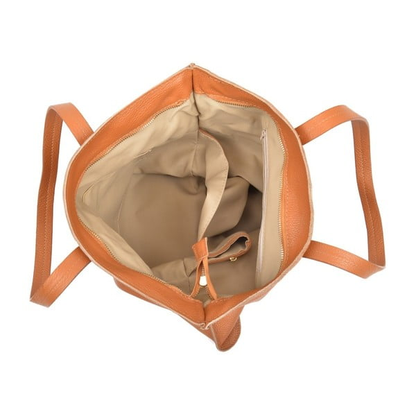 Koňakovohnedá kožená kabelka Luisa Vannini Thalia
