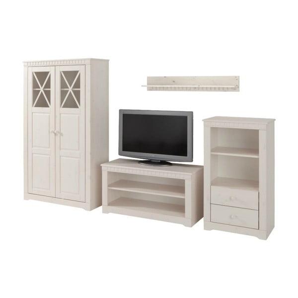 Biely 4dielny set do obývačky z borovicového dreva Støraa Claire