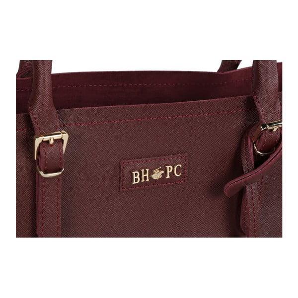 Tmavočervená kabelka z eko kože Beverly Hills Polo Club Dina