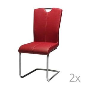 Sada 2 červených jedálnych stoličiek Knuds Lotus