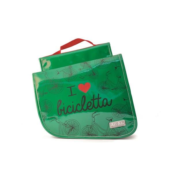Dvojitá taška na bicykel I ♥ Bicicleta, zelená