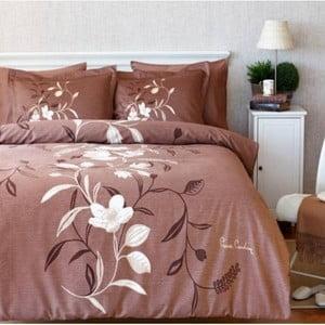 Obliečky Pierre Cardin Brown Flowers s plachtou, 200x220 cm