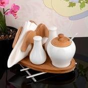 Stojan na obrúsky so soľničkou, koreničkou a dózou Bamboo