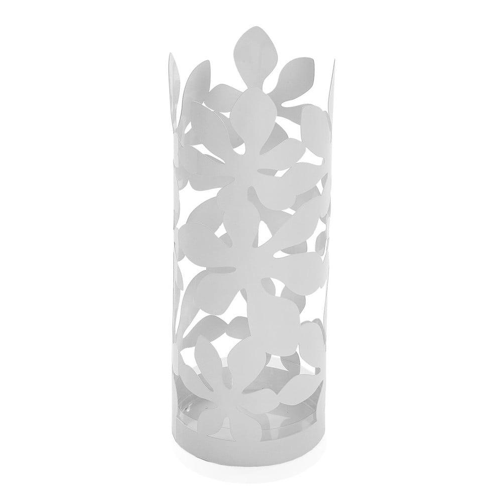 Biely kovový stojan na dáždniky Versa Flores, výška 49 cm