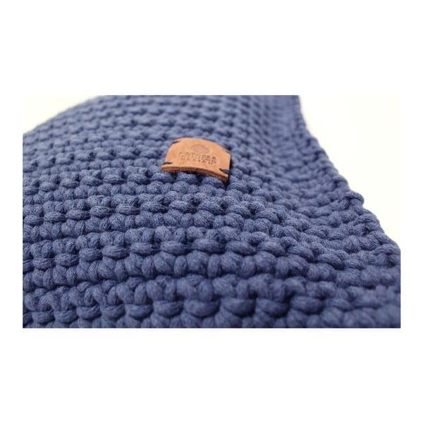 Háčkovaný vankúš Catness, modrý, 50x50 cm
