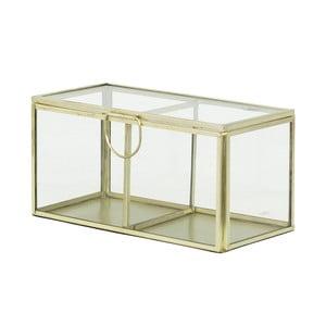Sklenený box Brass, krémový