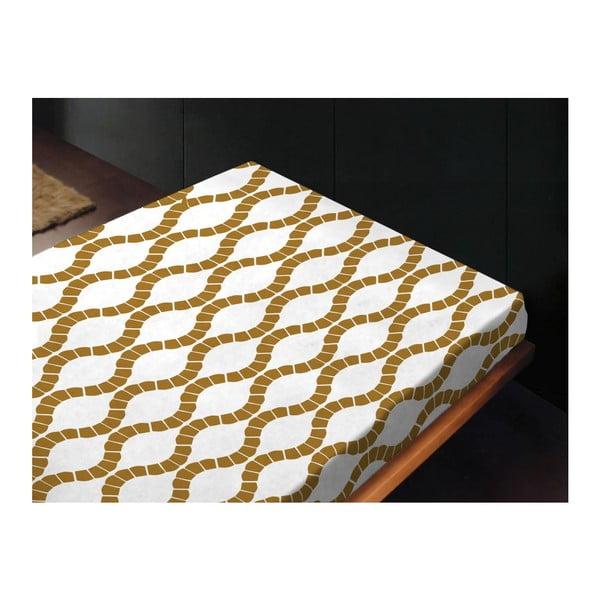 Neelastická posteľná plachta Kendra Oro, 240x260 cm