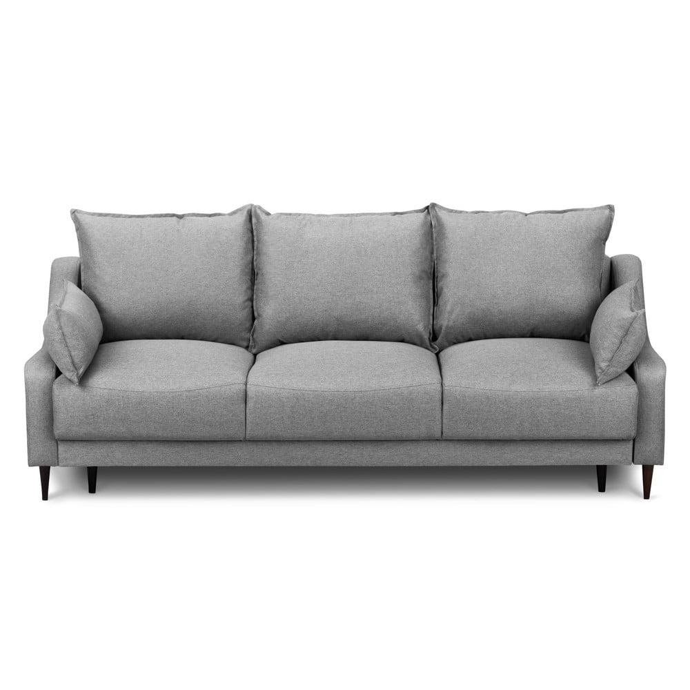 Sivá rozkladacia trojmiestna pohovka s úložným priestorom Mazzini Sofas Ancolie