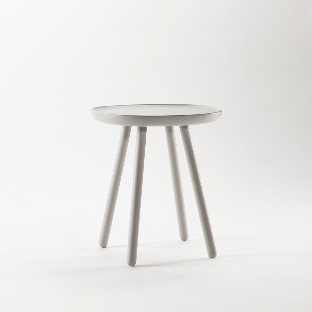 Sivý odkladací stolík z masívu EMKO Naïve Small, ø 45 cm