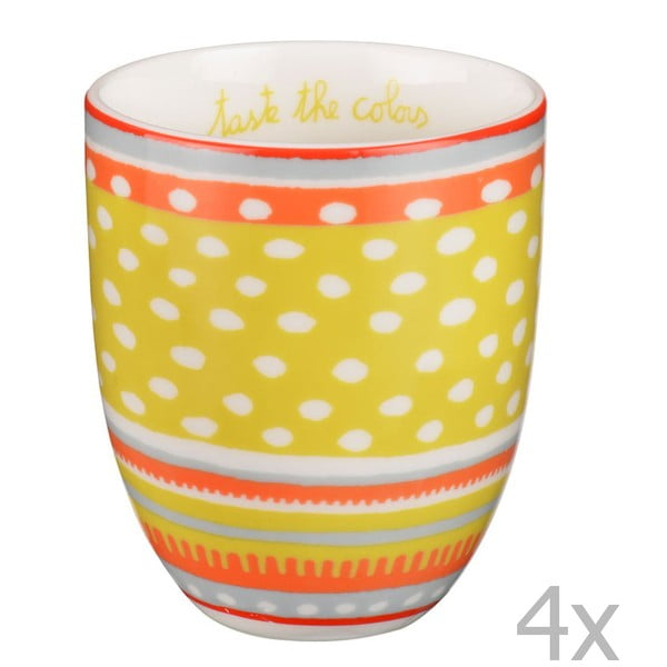 Sada 4 porcelánových šálok s bodkami Oilily 200 ml, žltá