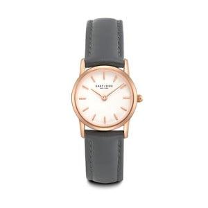 Dámske hodinky so sivým koženým remienkom a ciferníkom v ružovozlatej farbe Eastside Elridge