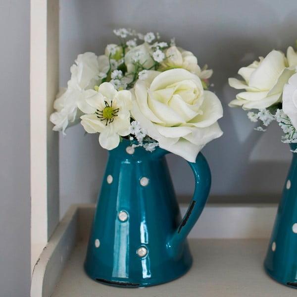 Keramický džbán s umelou kvetinou Blue Polka, 36 cm