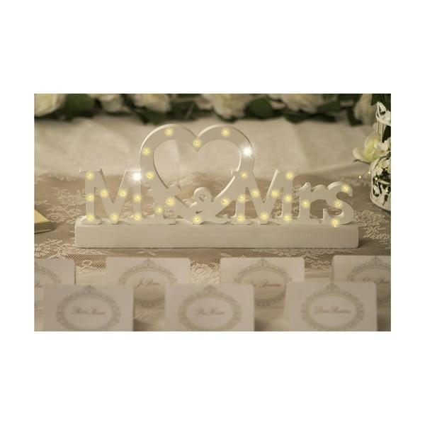 Svadobná dekorácia na stôl s LED svetielkami Mr. & Mrs.