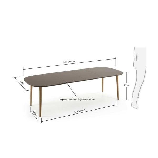 Rozkladací jedálenský stôl La Forma Oakland, dĺžka 160-260 cm