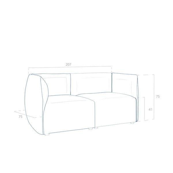 Béžová pohovka pre dvoch VIVONITA Cube Sawana