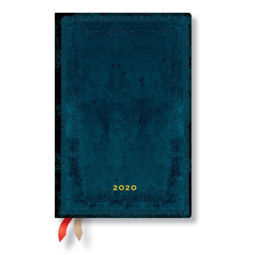 Modrý diár na rok 2020 v tvrdej väzbe Paperblanks Calypso, 368 strán