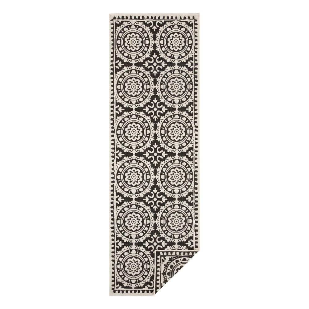 Čierno-krémový vonkajší koberec Bougari Jardin, 80 x 250 cm