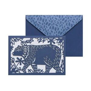 Sada 10 komplimentiek s obálkami Portico Designs FOIL Folklore Bear