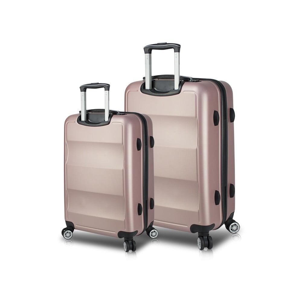 Sada 2 ružových cestovných kufrov na kolieskach s USB porty My Valice LASSO Large & Medium