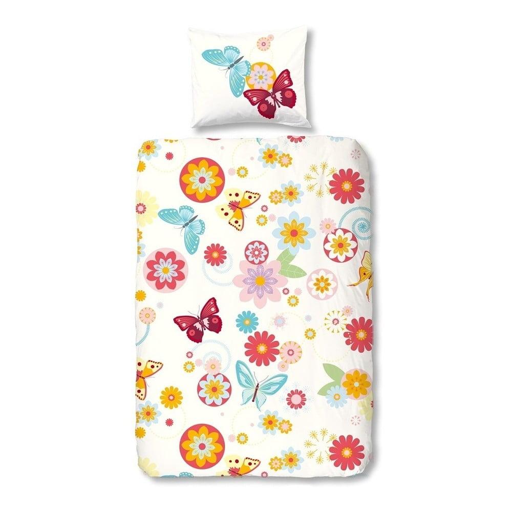 Detské obliečky na jednolôžko z bavlny Good Morning Flower Butterfly, 140 × 200 cm
