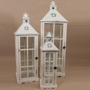 Sada 3 drevených lampášov Dakls Vintage White