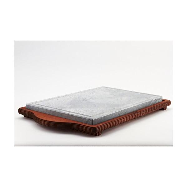 Servírovací podnos s kamennou doskou Stone Plate, 30x52 cm