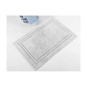 Sivá ručne tkaná kúpeľňová predložka z prémiovej bavlny Margot, 50 x 75 cm
