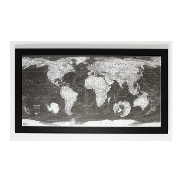 Magnetická mapa sveta The Future Mapping Company Monochrome World Map, 130 x 72 cm