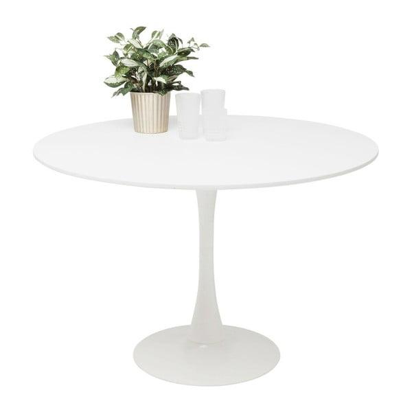 Biely jedálenský stôl s drevenou doskou Kare Design Schickeria, ⌀110 cm