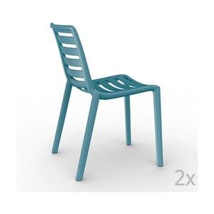 Sada 2 modrých záhradných stoličiek Resol Slatkat