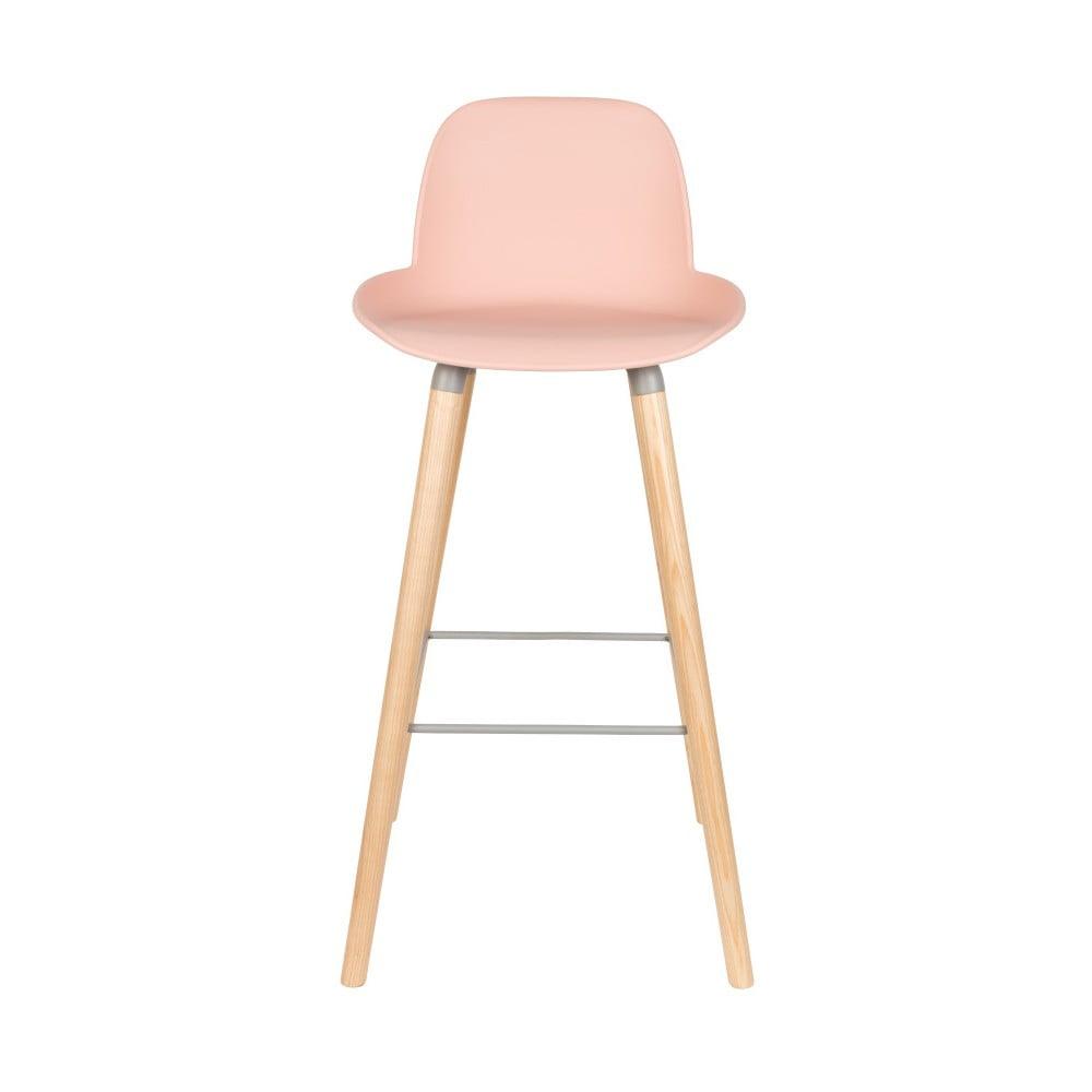 Sada 2 ružových barových stoličiek Zuiver Albert Kuip Old Pink, výška sedu 75 cm