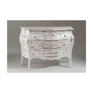 Biela drevená komoda s 3 zásuvkami Castagnetti Romance