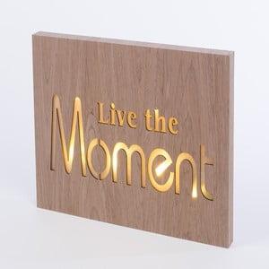Obraz so svietiacim nápisom Live The Moment, 42x24 cm