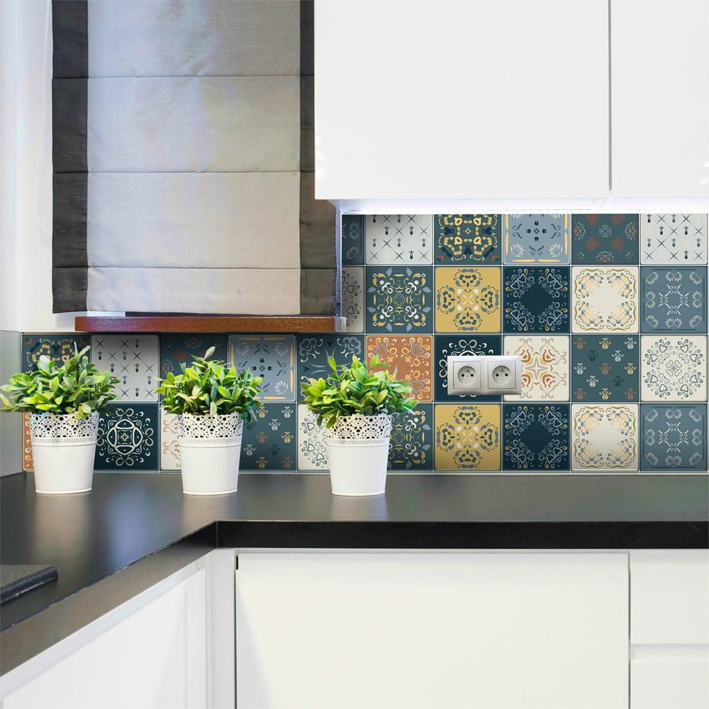 Sada 15 nástenných samolepiek Ambiance Wall Stickers Tiles Azulejos Rio Cuarto, 15 × 15 cm